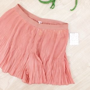 Free People Shorts - Free People Pink/Gold Flared Accordion Shorts, NWT